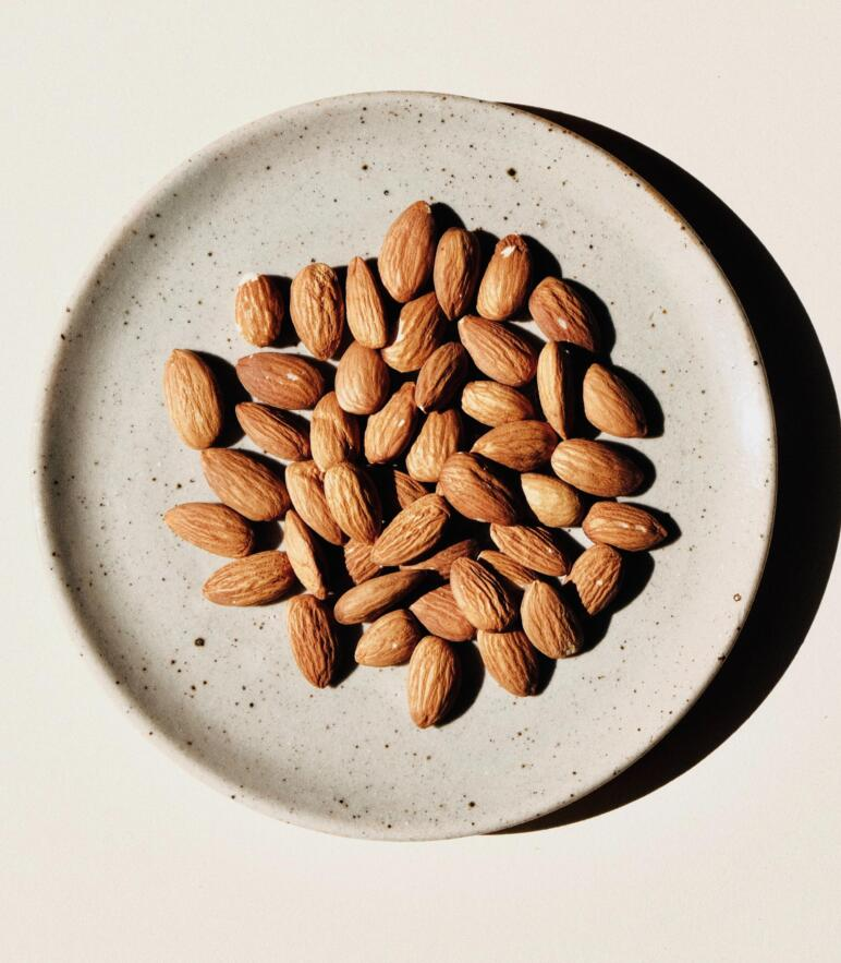 Almonds on plate